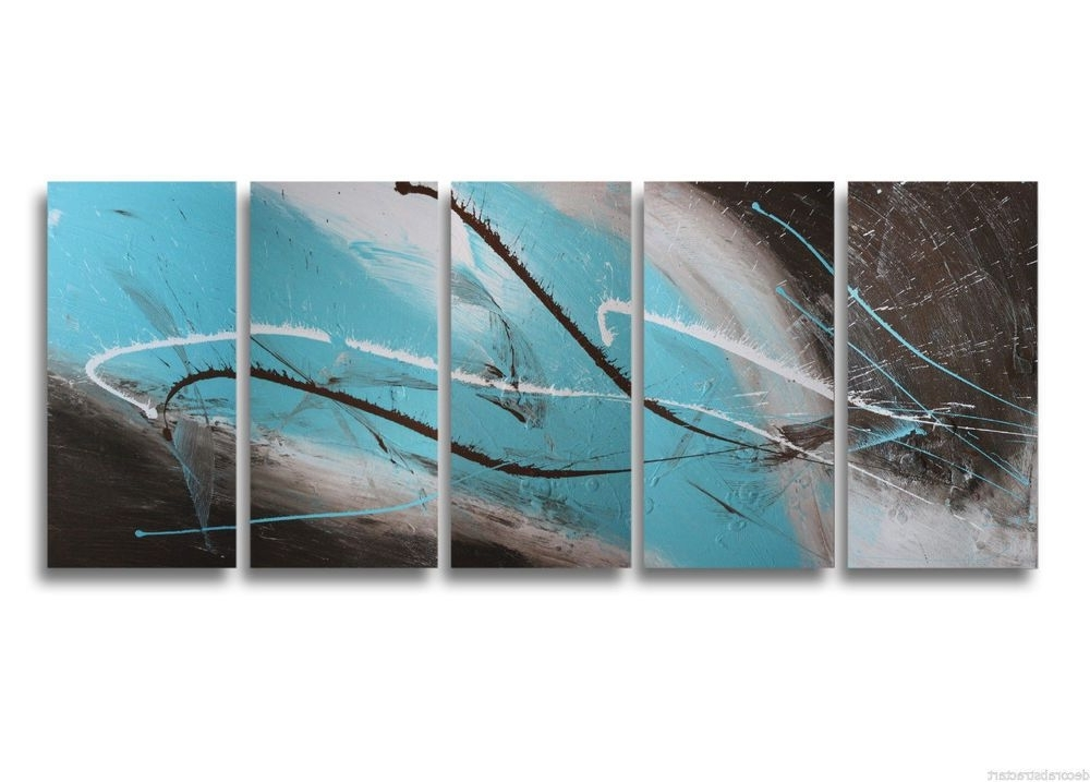 Abstract Wall Art Australia Regarding Widely Used Abstract Art Canvas Painting Brown Turquoise  (View 2 of 15)