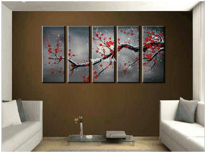 Abstract Wall Art Canvas Regarding Best And Newest 2018 Canvas Wall Art Cheap Abstract Wall Decor Red Cherry Blossom (View 2 of 15)