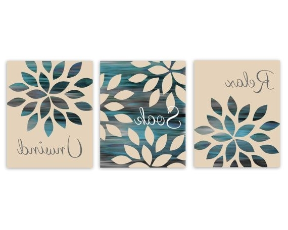 Abstract Wall Art For Bathroom Pertaining To Newest Bathroom Wall Art Relax Soak Unwind Abstract Prints Set Of 3 Prints (View 3 of 15)