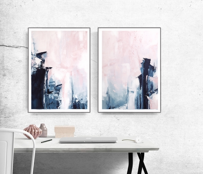 Abstract Wall Art For Bedroom In Fashionable Bedroom Print Set, Printable Wall Art, Set Of 2Semelart On Zibbet (View 2 of 15)