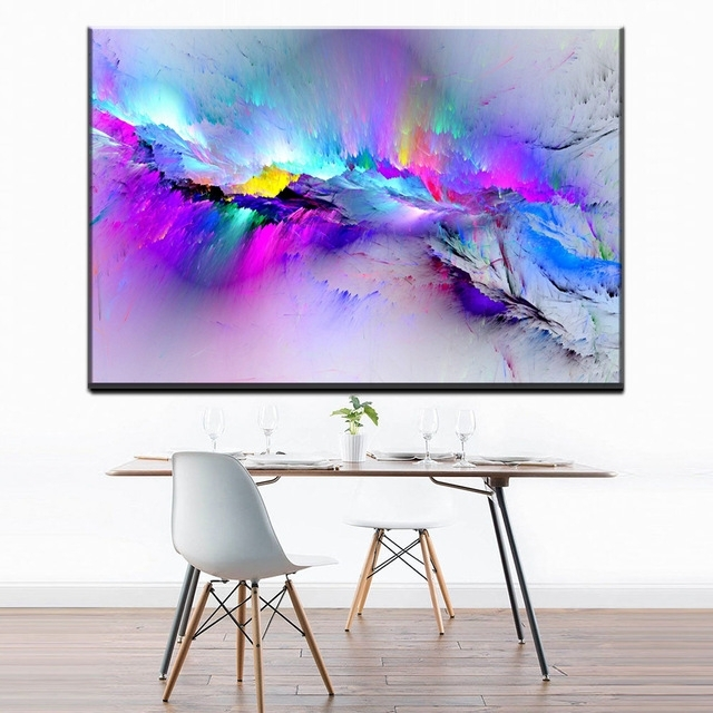 Abstract Wall Art For Bedroom With Regard To Trendy Zz1096 Modern Decorative Canvas Art Color Splash Abstract Canvas (View 11 of 15)