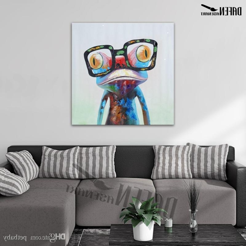 Abstract Wall Art For Bedroom Within Well Known Happy Frog Wearing Glasses Cartoon Animal Handpainted Oil Painting (View 13 of 15)