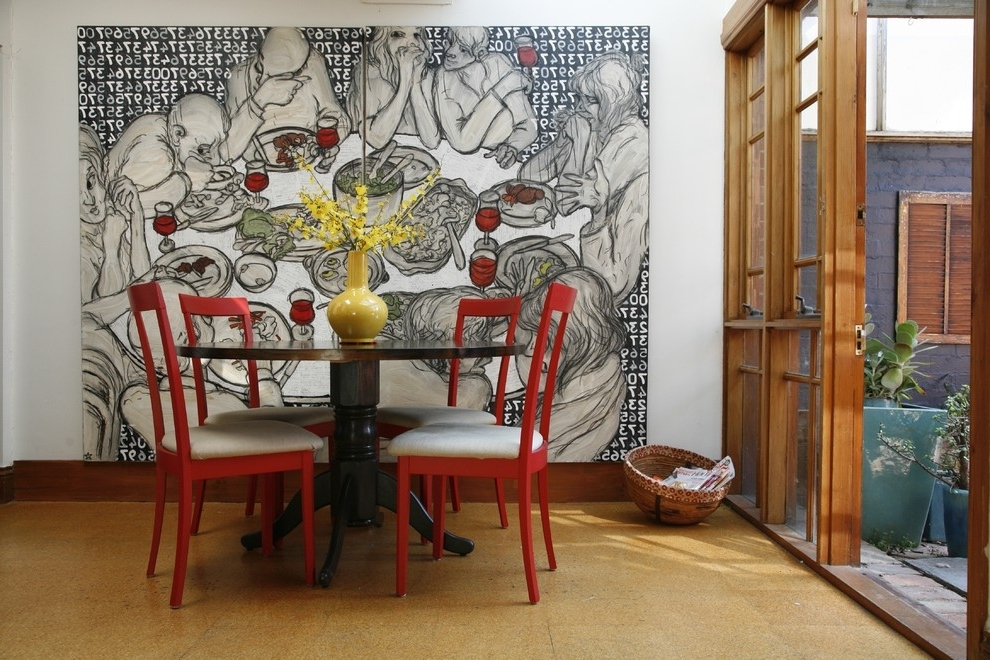 Abstract Wall Art For Dining Room Throughout Recent Designs Ideas : Staircase Decor With Large Abstract Wall Painting (View 7 of 15)