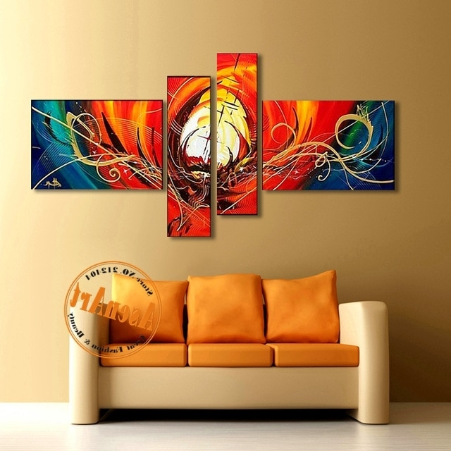 Abstract Wall Art Living Room In Well Liked Abstract Canvas Oil Painting Handmade Modern Abstract Wall Art (View 2 of 15)