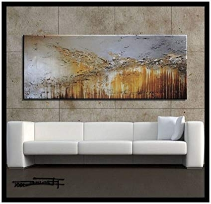 Abstract Wall Art Living Room Intended For Most Up To Date Amazon: Extra Large Modern Abstract Canvas Wall Art (View 6 of 15)