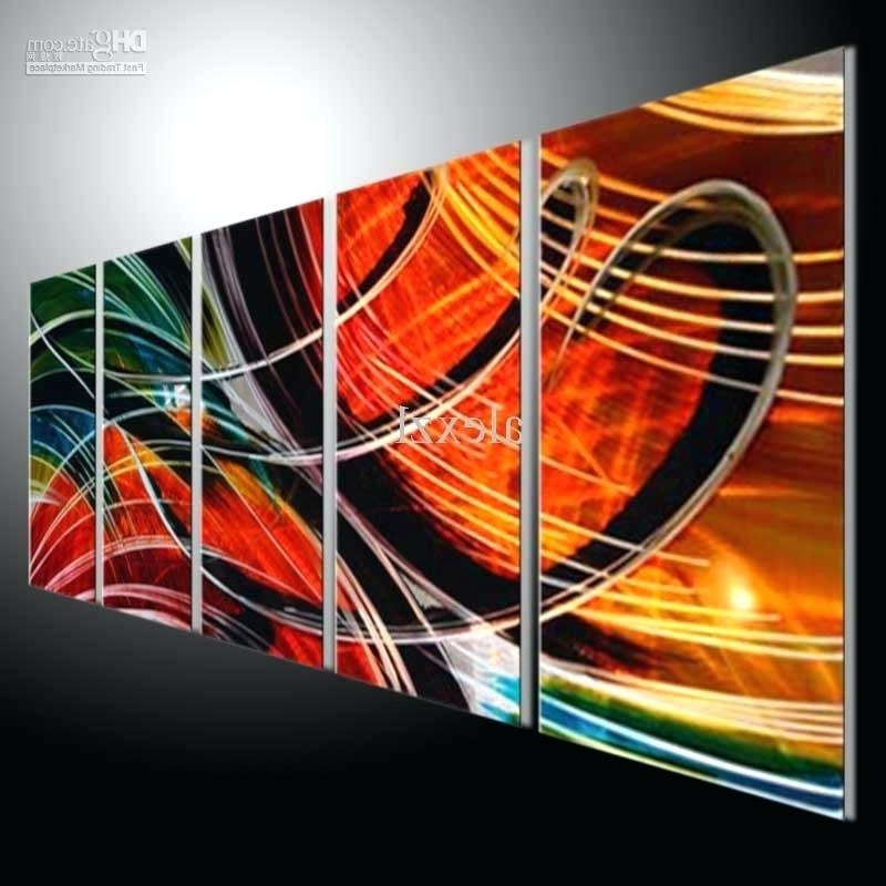 Abstract Wall Art Metal Wall Art Abstract Modern Sculpture Painting For Most Up To Date Abstract Orange Wall Art (View 3 of 15)