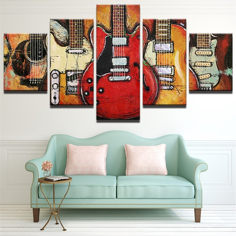 Abstract Wall Art Posters With Well Liked 5 Piece Abstract Canvas Wall Art Acoustic Guitar Lover Music Poster (View 11 of 15)