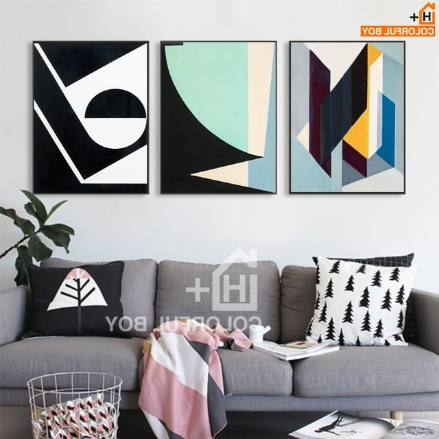 Abstract Wall Art Posters Within Most Popular Colorfulboy Geometric Abstract Wall Art Print Canvas Painting Pop (View 8 of 15)
