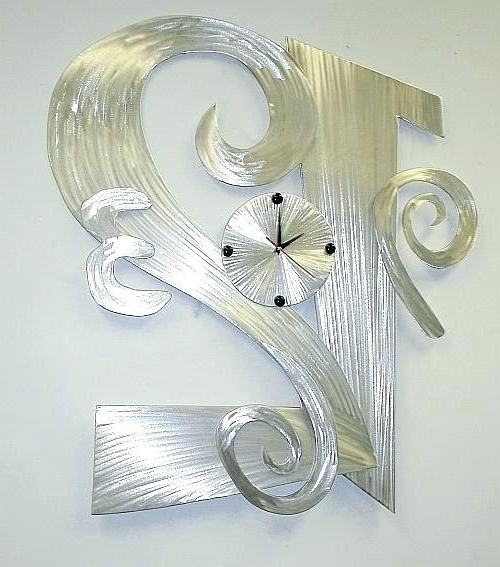 Abstract Wall Art With Clock Regarding Popular Metal Wall Art Clock Abstract With Aluminum Clocks And Throughout (Gallery 13 of 15)