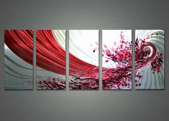 Abstract Wall Decor Abstract Red And White Metal Wall Art 60 X 24In Intended For Latest Abstract Metal Wall Art Panels (View 14 of 15)