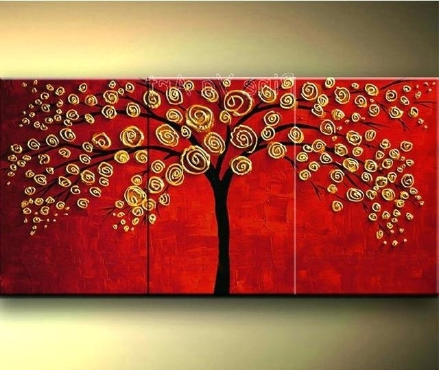 Abstract Wall Painting 3 Piece Abstract Wall Art Cheap Modern Red With Newest India Abstract Wall Art (Gallery 9 of 15)
