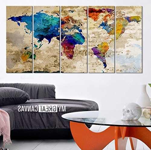 Abstract World Map Wall Art For Most Current World Map Canvas Print Contemporary 5 Panel Colorful Abstract (View 5 of 15)