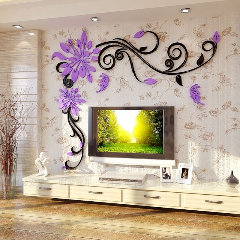 Acrylic Crystal Flower Vine 3D Wall Stickers Living Room Wall Pertaining To Current 3D Wall Art For Living Room (View 3 of 15)