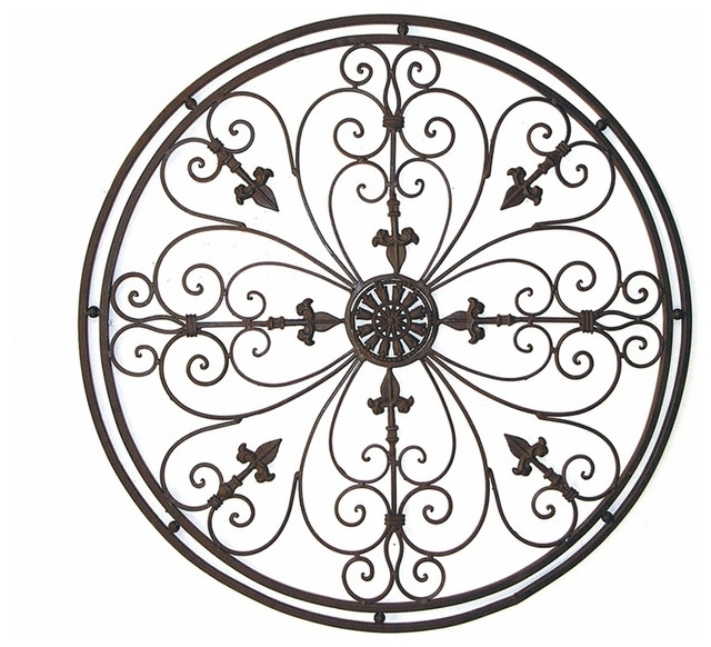 """Adrianna 36"""" Round Tuscan Wrought Iron Metal Wall Grille Plaque Intended For 2018 Tuscan Wrought Iron Wall Art (Gallery 10 of 15)"""