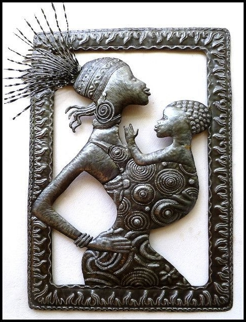 African Metal Wall Art Within Favorite Haitian Metal Art, Ethnic African Wall Hanging, Haitian Steel Drum (View 5 of 15)