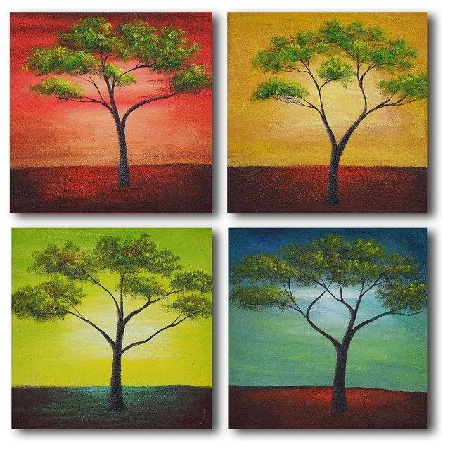 African Trees In Season Hand Painted Canvas Wall Art – Contemporary Within Fashionable Seasonal Wall Art (View 8 of 15)