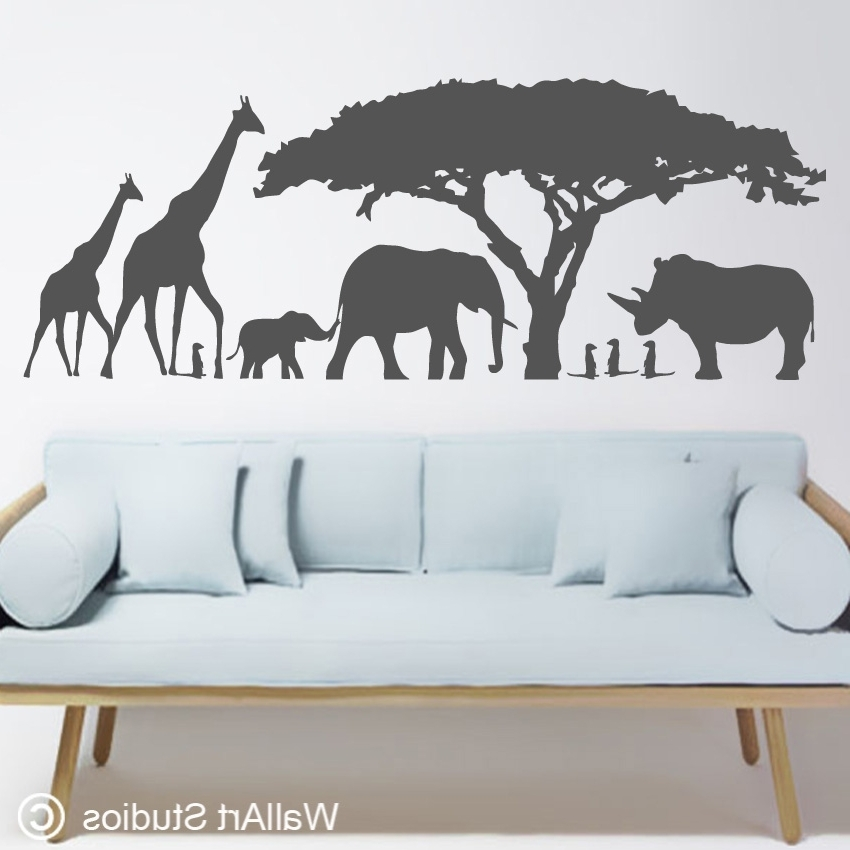 African Wall Art Sticker Custom Decals Studios Na14 Africa1 850X850 Throughout Current Animal Wall Art (View 2 of 15)