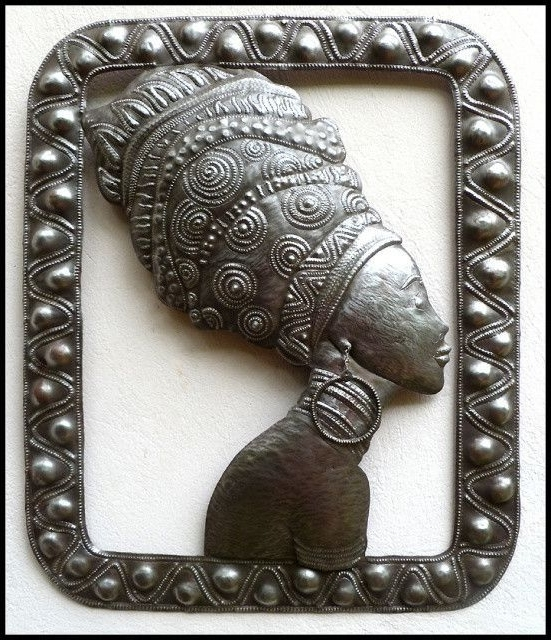 African Woman Metal Wall Art – Haitian Steel Drum Metal Art Pertaining To Current African Metal Wall Art (Gallery 7 of 15)