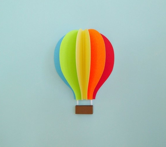 Air Balloon 3D Wall Art Regarding Most Up To Date Hot Air Balloon Wall Decal Paper Wall Art Wall Decor 3D (View 1 of 15)
