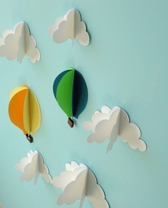 Air Balloon 3D Wall Art With Regard To Well Known Hot Air Balloon Wall Decal, Paper Wall Art, Wall Decor, 3D Wall Art (View 8 of 15)