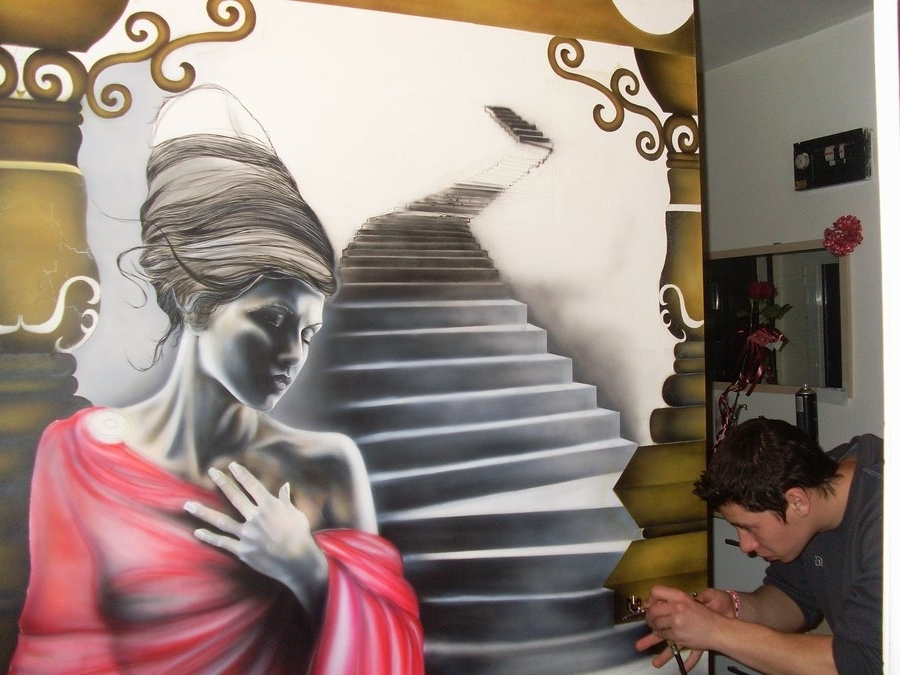 Airbrush Wall Art Intended For Most Recent Wall Airbrush In Progress 2Wolverinevt On Deviantart (View 9 of 15)