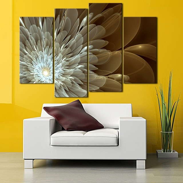 Aliexpress : Buy 4 Panel Abstract Flower Canvas Wall Art Gold With Regard To Popular Abstract Flower Wall Art (View 2 of 15)