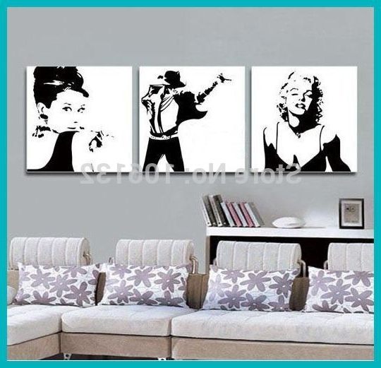 Aliexpress : Buy Framed 3 Panel Canvas Art Black And White Within 2018 Marilyn Monroe Black And White Wall Art (View 1 of 15)