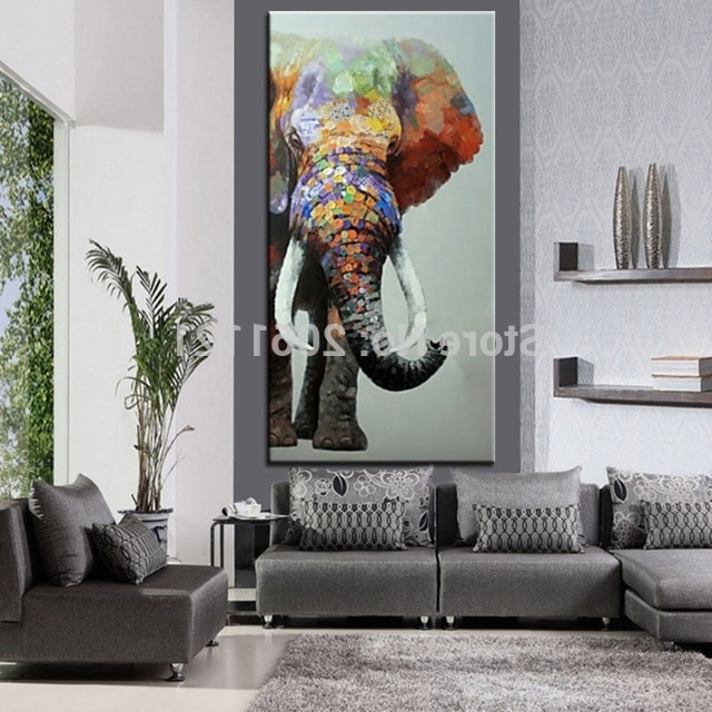Aliexpress : Buy Hand Painted Large Big Elephant Wall Art With Regard To Most Current Abstract Elephant Wall Art (View 8 of 15)