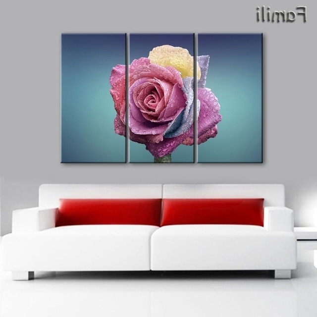 Aliexpress : Buy Red Rose Canvas Painting 3 Piece Wall Art In Widely Used Red Rose Wall Art (Gallery 10 of 15)