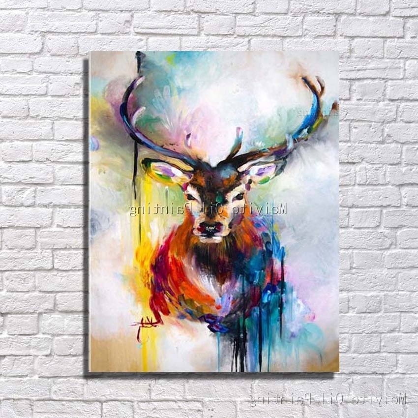 Aliexpress : Buy Strong Deer Many Colors Animal Abstract Oil Intended For Most Up To Date Abstract Animal Wall Art (View 9 of 15)