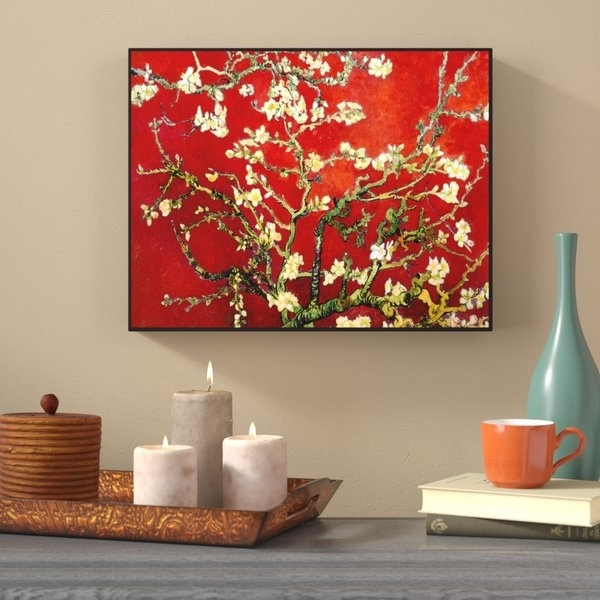 Almond Blossoms Vincent Van Gogh Wall Art For Famous World Menagerie 'interpretation In Red Almond Blossom'vincent (View 13 of 15)