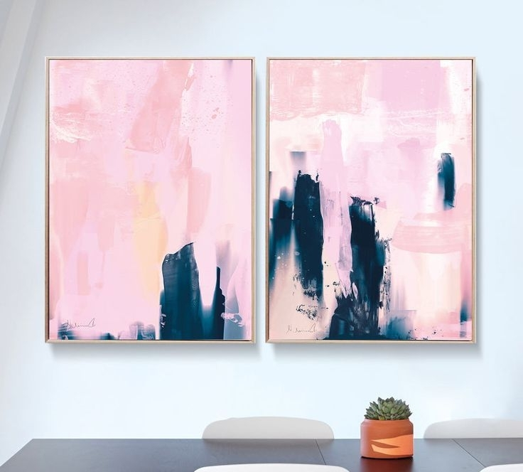 Aloha With Regard To Well Known Pink Abstract Wall Art (Gallery 2 of 15)