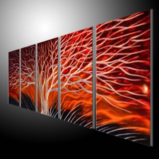 Aluminum Abstract Wall Art Throughout Favorite Metal Sculpture Wall Red Tree, Metal Painting Original Abstract Wall (View 3 of 15)