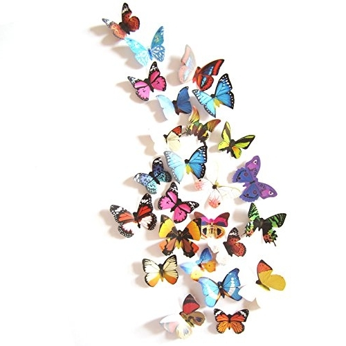 Amaonm® 19 Pcs Removable Diy Pvc 3D Colorful Butterfly Wall Sticker Inside Well Liked 3D Removable Butterfly Wall Art Stickers (View 6 of 15)