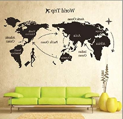 Amazon: 1 X Global World Map Atlas Vinyl Wall Art Decal Sticker With Regard To Latest Atlas Wall Art (Gallery 1 of 15)