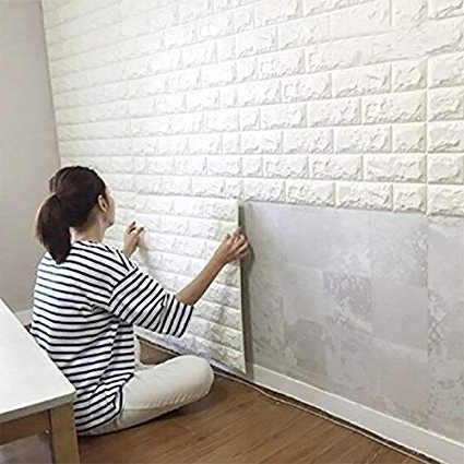 Amazon: 10Pcs 3D Brick Wall Stickers, Pe Foam Self Adhesive Within Current Love Coco 3D Vinyl Wall Art (View 3 of 15)