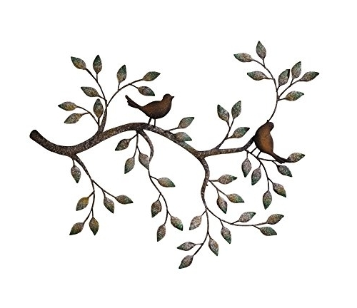 Amazon: 24 In Branches W/ Birds Decorative Metal Wall Sculpture For Preferred Flying Birds Metal Wall Art (Gallery 4 of 15)