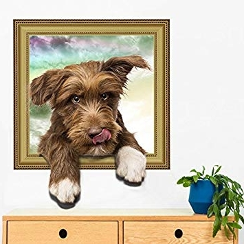 Amazon: 3D Wall Decals Stickers Vivid Decors Murals (Cat) For Within 2017 Dogs 3D Wall Art (View 6 of 15)
