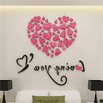 Amazon : 3D Wall Stickers, Fheaven Love Heart Diy Removable Throughout Most Recently Released Heart 3D Wall Art (View 10 of 15)