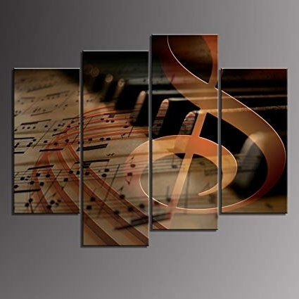 Amazon: 4 Panels Wall Art Musical Staff Melody Piano Music Notes Pertaining To Widely Used Abstract Music Wall Art (View 9 of 15)