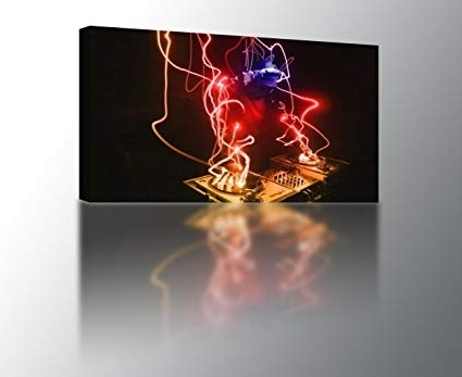 Amazon: 4 Sizes – Colorful Abstract Dj Neon Canvas Print Wall Regarding Most Current Abstract Neon Wall Art (Gallery 13 of 15)