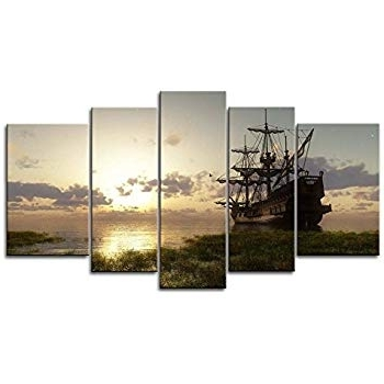 Amazon: 5 Panel Wall Art Painting Fantasy Ship Sail Boat In Lake Within Widely Used Boat Wall Art (Gallery 6 of 15)