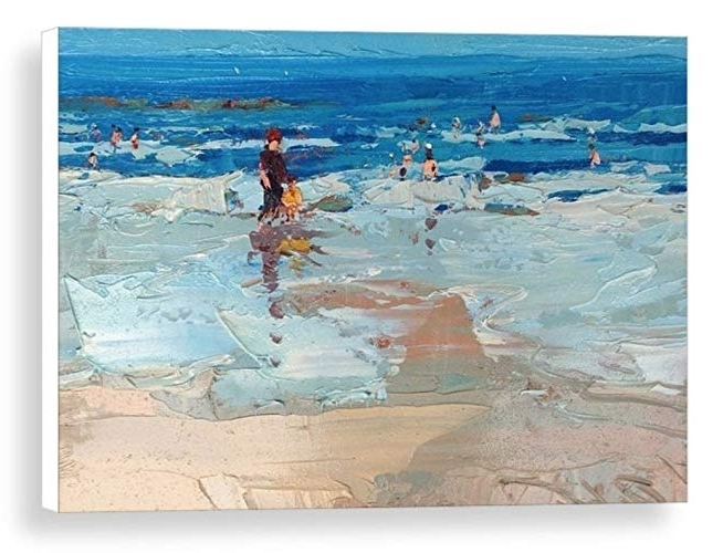 Amazon: Abstract Coast Beach With People Canvas Wall Art Prints With Latest Abstract Beach Wall Art (View 7 of 15)