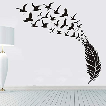 "Amazon: Amaonm 67""x63"" Large Removable Creative 3D Vinyl Feather With Regard To Most Recently Released White Birds 3D Wall Art (View 3 of 15)"