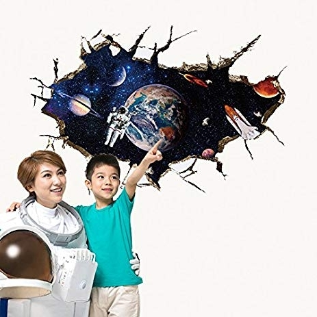 Amazon: Amaonm Removable 3D Pvc Outer Space Planet Galactic Pertaining To Widely Used Astronaut 3D Wall Art (View 8 of 15)