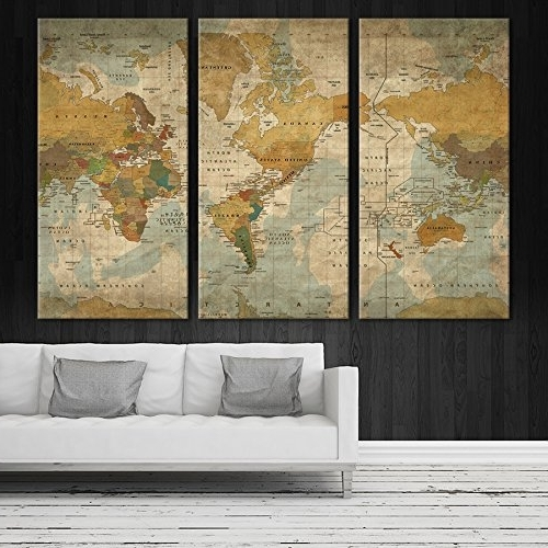 Amazon: Antique Vintage World Map Large Wall Art, Push Pin Intended For Recent Antique Map Wall Art (Gallery 4 of 15)