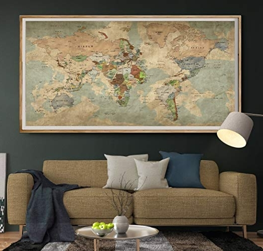 Amazon: Antique World Map Push Pin Wall Art, Vintage Travel Map With Most Up To Date Large Retro Wall Art (View 11 of 15)