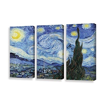 Amazon: Art Wall 3 Piece Starry Nightvincent Van Gogh With Trendy Vincent Van Gogh Multi Piece Wall Art (View 3 of 15)