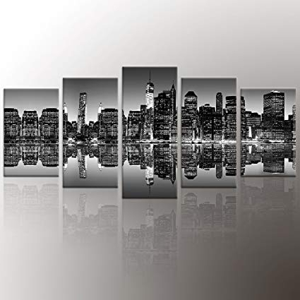Amazon: Artgow 5 Piece New York City Beautiful Night View Canvas Within Latest New York City Canvas Wall Art (View 8 of 15)