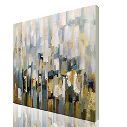 Amazon: Asdam Art Modern Abstract Wall Art White Hand Painted Within Well Known Abstract Wall Art For Office (View 9 of 15)